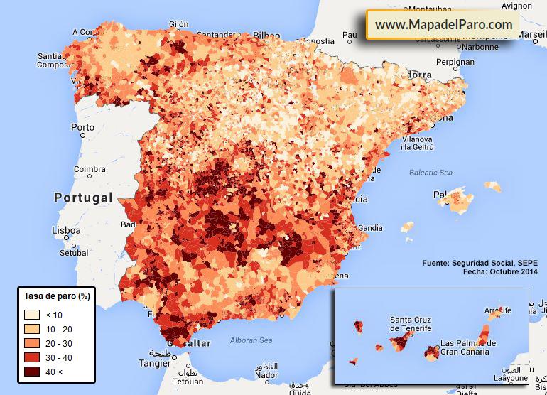 Mapa de la Tasa de Paro por municipios en España