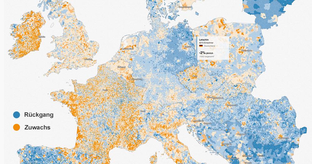 Wo Europas Bevölkerung wächst und schrumpft